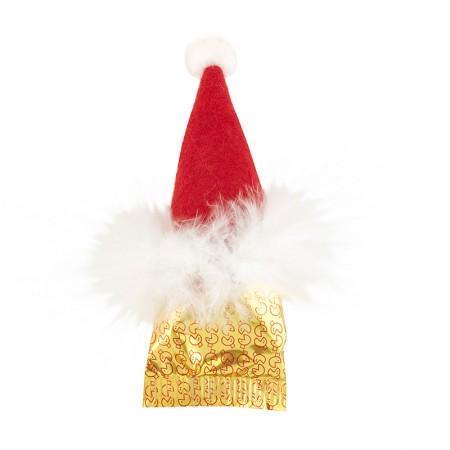 """Lot de 6 """"bonnets à plumes"""" de Noël contenant 1 Fortune Cookie"""