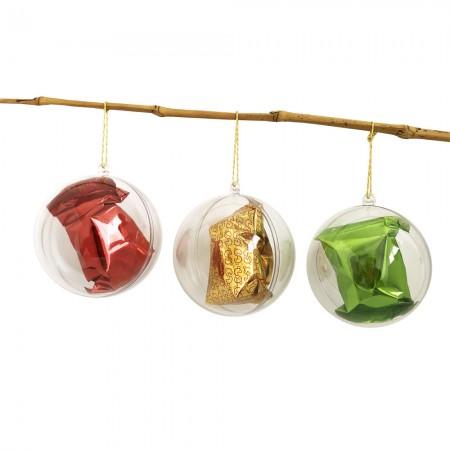 Lot de 6 Boules de Noël contenant 1 fortune cookie