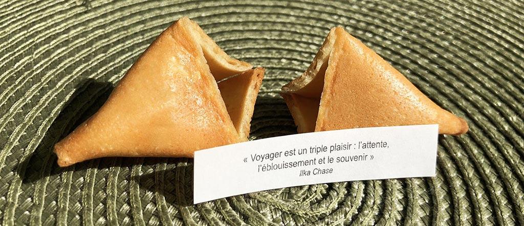 Voyager est un triple plaisir... Message voyage Fortune cookies